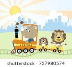 cute animals on train  vector... | Shutterstock .eps vector #727980574