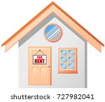 small house with hanging for... | Shutterstock .eps vector #727982041