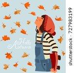 girl with skateboard looks like ... | Shutterstock .eps vector #727983199