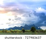 the mountains and the sky are...   Shutterstock . vector #727983637