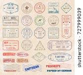 vector set vintage postage... | Shutterstock .eps vector #727999039