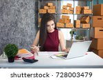 young woman using laptop...   Shutterstock . vector #728003479