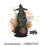 witch cooking potion in pot and ... | Shutterstock .eps vector #728007925