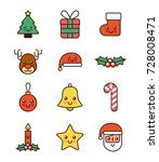 collection icons merry... | Shutterstock .eps vector #728008471