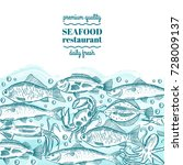 hand drawing vector seafood... | Shutterstock .eps vector #728009137