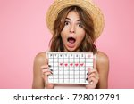 portrait of a crazy young girl... | Shutterstock . vector #728012791