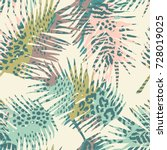 trendy seamless exotic pattern... | Shutterstock .eps vector #728019025