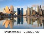 singapore skyline at the marina ... | Shutterstock . vector #728022739