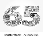 happy 65th birthday word cloud... | Shutterstock .eps vector #728029651