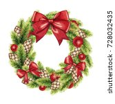 hand drawn watercolor christmas ... | Shutterstock . vector #728032435