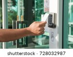 hand using security key card... | Shutterstock . vector #728032987