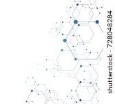 abstract molecular hexagon... | Shutterstock .eps vector #728048284