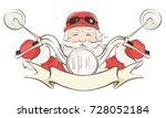 santa biker   vector... | Shutterstock .eps vector #728052184