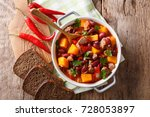 stew with beef  pumpkin  red... | Shutterstock . vector #728053897