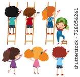 boys and girls on ladder... | Shutterstock .eps vector #728056261
