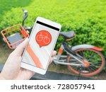 smart phone and shared bikes | Shutterstock . vector #728057941