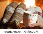 man and woman in warm socks... | Shutterstock . vector #728057971