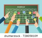 calendar schedule board with... | Shutterstock .eps vector #728058109