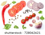 sliced red onion  red hot chili ...   Shutterstock . vector #728062621