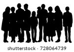 silhouette of big family ... | Shutterstock . vector #728064739