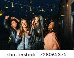 night party on a terrace. happy ... | Shutterstock . vector #728065375