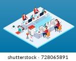 isometric office   Shutterstock .eps vector #728065891