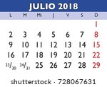 july month in a year 2018 wall... | Shutterstock .eps vector #728067631