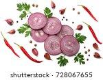 sliced red onion with parsley ... | Shutterstock . vector #728067655