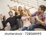 friends in front of tv watching ... | Shutterstock . vector #728068495