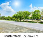 asphalt road and green tree in... | Shutterstock . vector #728069671