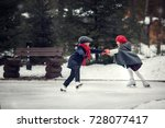 on the skating ring. cute girl... | Shutterstock . vector #728077417