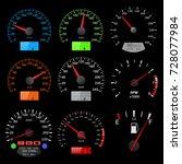 speedometers. collection of... | Shutterstock . vector #728077984