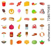 eating icons set. cartoon style ... | Shutterstock .eps vector #728079385