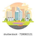 cityscape with skyscrapers in a ... | Shutterstock .eps vector #728082121