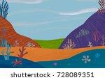 under the sea colorful cartoon... | Shutterstock . vector #728089351