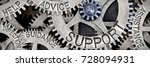 Small photo of Macro photo of tooth wheel mechanism with SUPPORT, ADVICE, HELP, GUIDANCE, ASSISTANCE and DIRECTION words imprinted on metal surface