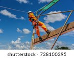 workers up high with safety... | Shutterstock . vector #728100295