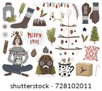 collection of vintage merry... | Shutterstock .eps vector #728102011