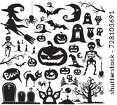 set for halloween  vector icons ... | Shutterstock .eps vector #728103691
