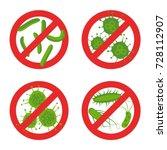 Stop Bacteria Sign Set. Stock...