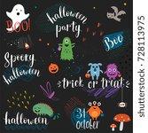 halloween phrases. vector...   Shutterstock .eps vector #728113975