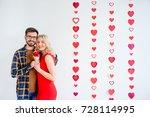 couple celebrating valentine day | Shutterstock . vector #728114995