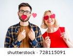 couple celebrating valentine day | Shutterstock . vector #728115091