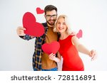 couple with heart postcards | Shutterstock . vector #728116891