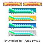 flat  railway locomotive and... | Shutterstock . vector #728119411