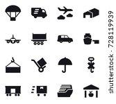 16 vector icon set   parachute  ...   Shutterstock .eps vector #728119939