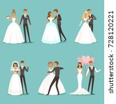 beautiful wedding couple... | Shutterstock .eps vector #728120221