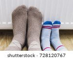 father and son in woolen winter ... | Shutterstock . vector #728120767