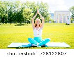 girl doing yoga in a park | Shutterstock . vector #728122807