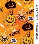 halloween hand drawn characters ... | Shutterstock .eps vector #728125375